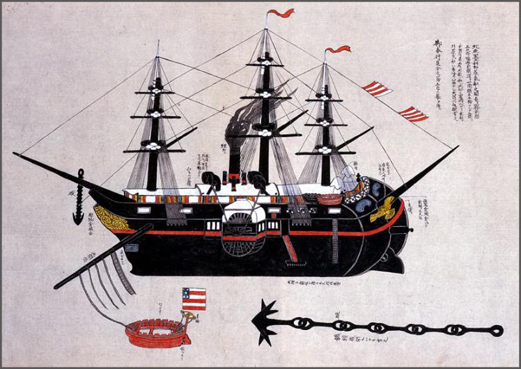 Zeitgenössische japanische Darstellung der USS Powhatan, eines der Schiffe der Perry-Flotte © Ryosenji Treasure Museum